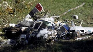 Plane crash wreckage
