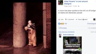 Clown hoax screengrab