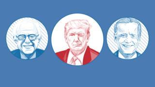 Image showing Donald Trump winking at possible Democratic challengers Bernie Sanders and Joe Biden