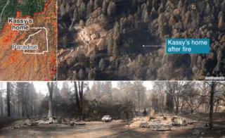 Photo composite showing Kassy's house after the fire from above and on the ground