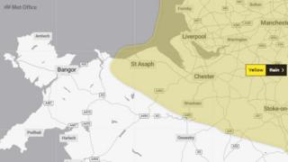 Met Office graphic showing map of affected area across north Wales, stretching west to St Asaph