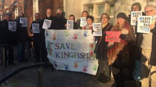 Demonstration outside county hall by opponents