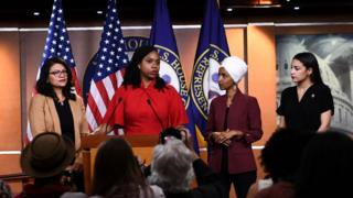 Rashida Tlaib, Ayanna Pressley, Ilhan Omar and Alexandria Ocasio-Cortez spoke at a press convention on Monday