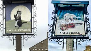 Cat & Fiddle sign in 1980s (left) and 2019
