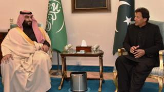 Crown Prince of Saudi Arabia Mohammad bin Salman and Prime Minister of Pakistan Imran Khan in Islamabad in February 2019
