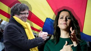 Carles Puigdemont e Ines Arrimadas