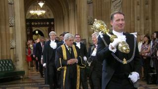 Serjeant at Arms Lawrence Wood leads the Speaker's procession