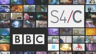 BBC and S4C logos against a bank of TV screens