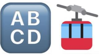 "Emojis for ""Input symbol"" - a block of the letters ABCD - and ""aerial tramway"" - a pictogram of a cable car"