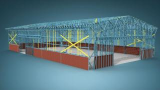 Steel frames being used in construction