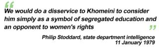 """We would do a disservice to Khomeini to consider him simply as a symbol of segregated education and an opponent of women's rights"