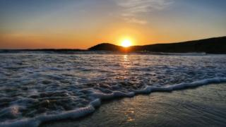 Sunset over Whitesands Bay in St Davids