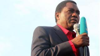 Hakainde Hichilema, lors de la campagne électorale d'août dernier.