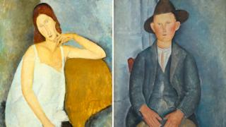 Jeanne Hebuterne 1919 (left) and The Little Peasant 1918 (right)
