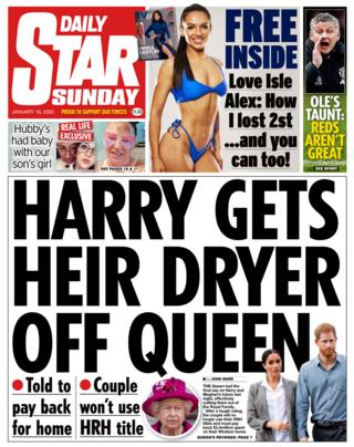 Daily Star Sunday front page 19/01/20