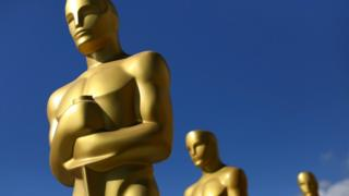 Oscar statues dry in the sun after receiving a fresh coat of gold paint as preparations begin for the 89th Academy Awards in Hollywood, California, February 22, 2017