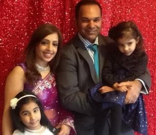 Reeta and Bhooshan Saidha with her two daughters