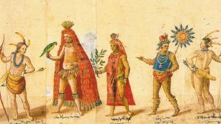 Desenho de índio com manto tupinambá