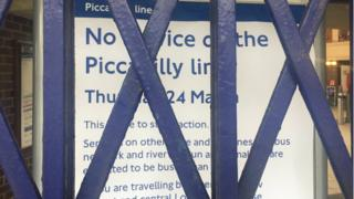 Station shut sign at Arnos Grove