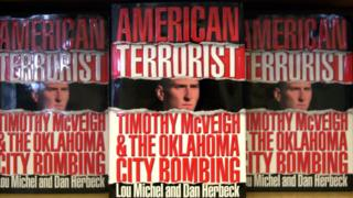 Copies of American Terrorist on book shelf