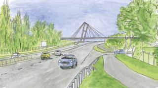Artist impression of bridge across the A45