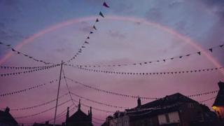 Pink rainbow over Beaminster