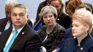 Uk Prime Minister Theresa May at EU summit in Gothenburg