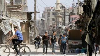 مجموعة من الصبية في ريف دمشق، في السادس عشر من أبريل/نيسان