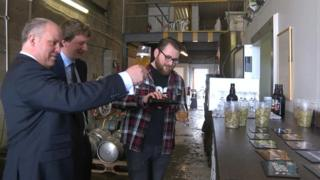 Andrew RT Davies at a brewery