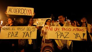 Demonstrators march for peace in Bogota