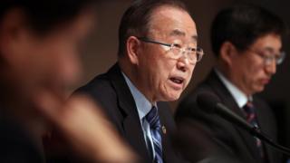 반기문 전 유엔 사무총장이 26일 오후 서울 중구 프레스센터 국제회의장에서 열린 관훈토론회에서 기조연설을 하고 있다