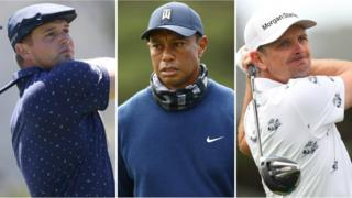 Bryson DeChambeau (left), Tiger Woods (centre) and Justin Rose (Eng)