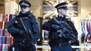 Armed British police at St. Pancras International railway station in London, Britain, 22 March 2016