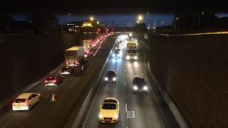 The country-bound carriageway of the Westlink in Belfast was closed due to a collision