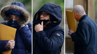 Left to right: Margaret Rigby, Jayne MacDonald and Allan MacDonald all arriving at court