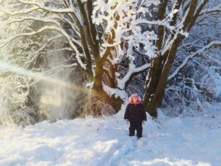Child in the snow in Shotts