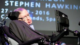 """Stephen Hawking gives a lecture entitled: """"A Brief History of Mine"""" during the Starmus Festival"""