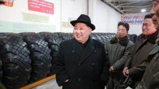 Kim Jong-un at the Amnokgang Tyre Factory