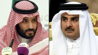 Suudi Arabistan Veliaht Prensi Muhammed bin Selman ve Katar Emiri Şeyh Temim bin Hamad Es Sani