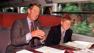 Prince Charles and Prince Harry travel on the Eurostar service in 1998