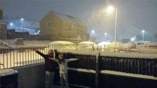 Residents in Ebbw Vale enjoyed the snow on Thursday night