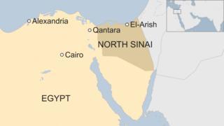 Map of Egypt showing location el-Arish