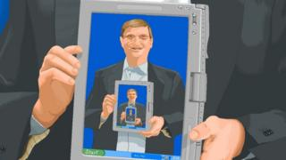 Bill Gates holding an ipad featuring Bill Gates holding an ipad, and so on