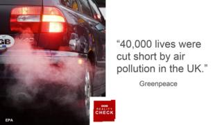 Greenpeace quote: 40,000 lives were cut short by air pollution in the UK