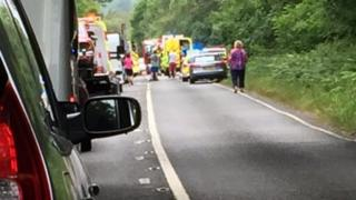 Crash scene on the A35