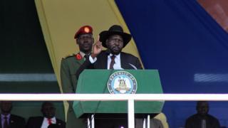 Le président Salva Kiir délivre un discours à Freedom Square, dans la capitale Juba, le 18 mars 2015.