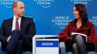 Prince William with Jacinda Ardern at the World Economic Forum, in Switzerland, in January