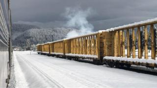 Train stalled in snow