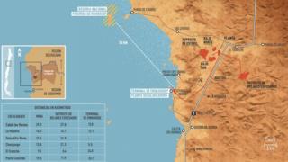 Un mapa de la costa de Chile en el que se ve dónde se ubicará Dominga