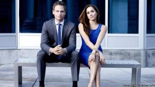 Patrick J Adams as Mike Ross and Meghan Markle as Rachel Zane in Suits